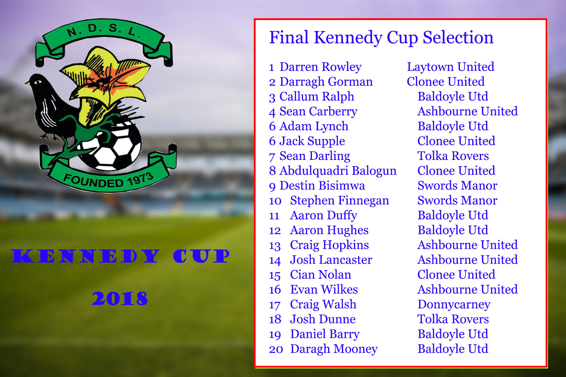 Kennedy Cup Squad for 2018
